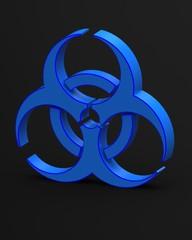 blue biohazard symbol 3d