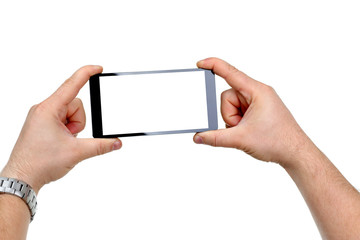 Male hand hoding smartphone isolated on white background