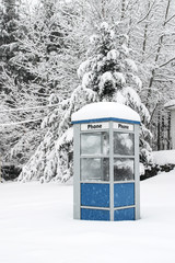 Phone Booth in Winter Storm