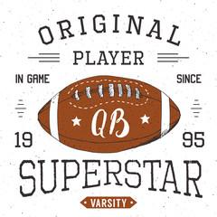 T-shirt design, Football quarterback superstar typography graphics, vector illustration