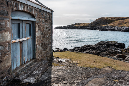Lighthouse by sea, Isle of Harris, Scotland