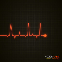 Pulse graphic. Medical background with heart cardiogram. Vector background.