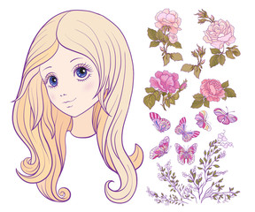 Girl with colored long hair with set of rose, butterfly and bran