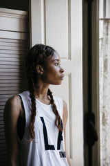 Profile portrait of an African American young woman
