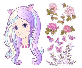 Girl with a cat ears and colored long hair and set of rose, butt