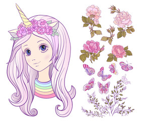 Girl with a unicorn horn and colored long hair and set of rose,