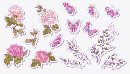 Sticker, patches elements, fashion patch badges with rose, butte