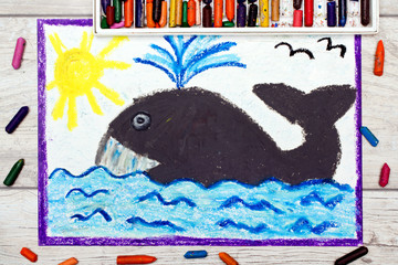 Photo of colorful drawing: big whale and water