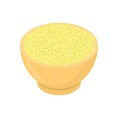 Cuscus in wooden bowl isolated. Groats in wood dish. Grain on white background. Vector illustration