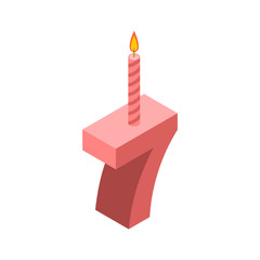 7 number and Candles for birthday. seven figure for holiday cartoon style. Vector illustration