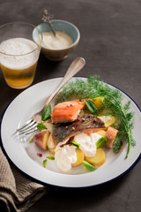 Sauteed fillet of trout with potato salad