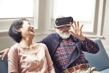 Senior couple using virtual reality headset