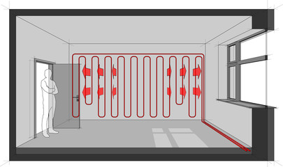 Diagram of a room heated with wall heating