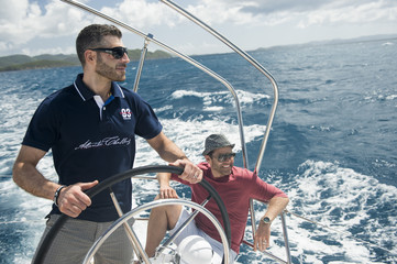 Two men yachting