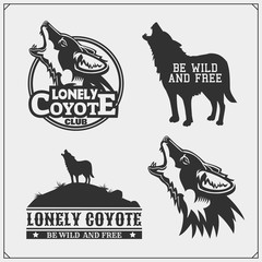 The emblems with coyote for a sport team.