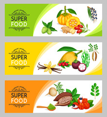 Vector illustration superfood banner template