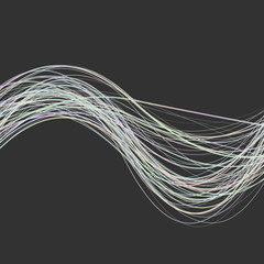 Abstract dynamic wave line background -  design from light colored curved wave stripes on black background