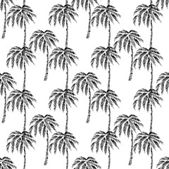 Seamless vector pattern eco realistic black silhouettes of tropical palm trees, on a white background, hand drawn sketch.