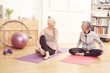 Woman exercising yoga at home