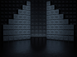 Abstract wall of guitar amps. 3D Render Wall mural