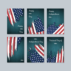 USA Patriotic Cards for National Day. Expressive Brush Stroke in National Flag Colors on dark striped background. USA Patriotic Vector Greeting Card.