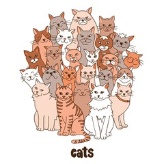 Group of hand drawn cats, standing in a circle