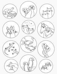 Cute stickers with hand drawn animals