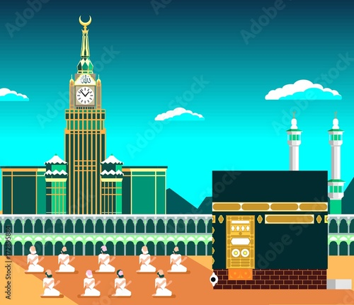 Mecca or Makkah, with Kaaba & muslims pray, flat vector