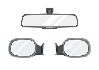 Rear view mirrors. Realistic set. Vector illustration.