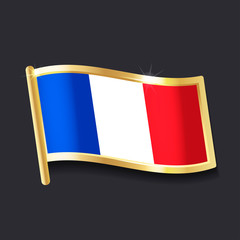 flag of  France in the form of badge, flat image