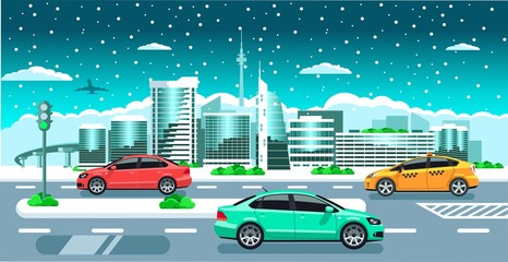 Cars on the winter city panorama. Modern snowy buildings, tv tower, jet & multicolored cars on the snowfall background flat vector illustration