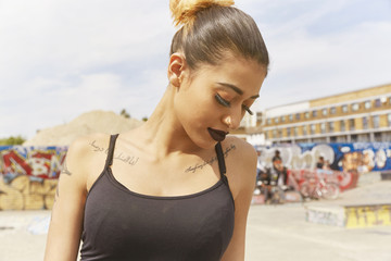 Young woman at skate park