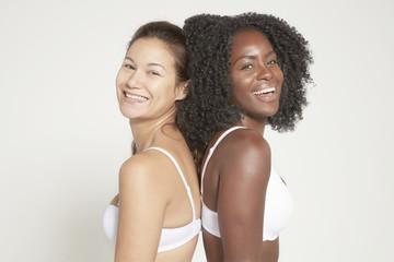 Young women posing in underwear, real women
