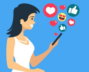 Beautiful Girl have fun and likes in social networks receives recognition flat vector illustration
