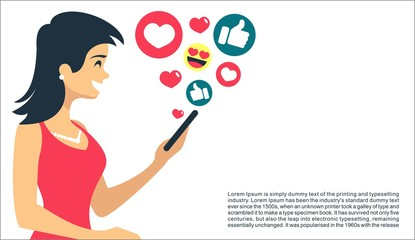 Beautiful Girl with smartphone in hand have fun and likes in social networks receives recognition flat vector illustration