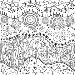 Abstract eastern pattern. Zentangle. Hand drawn isolated texture with abstract patterns. Line art creation. Illustration for coloring. Design for spiritual relaxation for adults.