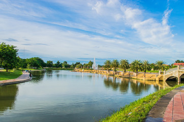View of beautiful lake in the park with clear blue sky