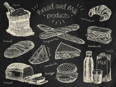 Bread and milk products on the chalkboard background
