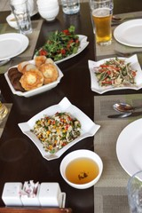 Green tea and vegetable salad - an integral part of Central Asian cuisine. Blur.