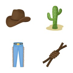 Hat, cactus, jeans, knot on the lasso. Rodeo set collection icons in cartoon style vector symbol stock illustration web.