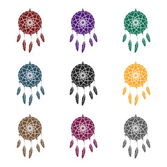 Dream catcher with feathers.Hippy single icon in black style vector symbol stock illustration web.