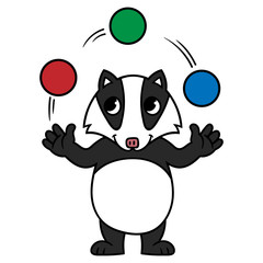 Cartoon Badger Juggling Balls