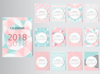 Calendar 2016 Vector Design Template with abstract pattern,Set of 12 Months,vector illustrations.