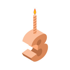 3 number and Candles for birthday. three figure for holiday cartoon style. Vector illustration