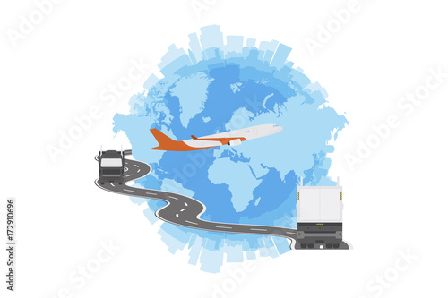 Logistic concept with big truck and world map flat vector logistic concept with big truck and world map flat vector illustration eps 10 gumiabroncs Image collections