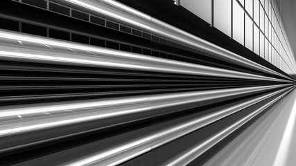 Empty black and white corridor with tile and pipes. 3D Rendering.