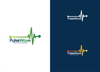 Pulse Wave Logo Template Design Vector, Emblem, Design Concept, Creative Symbol, Icon