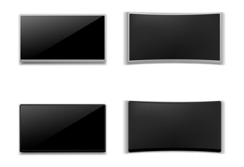 Set of realistic 3D TV screen. Modern stylish lcd panel, led type. Large computer monitor display mockup. Blank television template. On isolated white background.Vector illustration