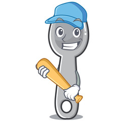 Playing baseball spoon character cartoon style