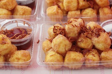 Fried tofu in the market